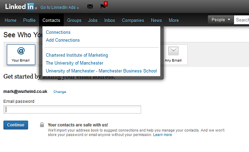 LinkedIn Contacts Screen