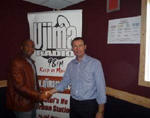 Mark Stonham with Stephen C Campbell at Ujima Radio in Bristol