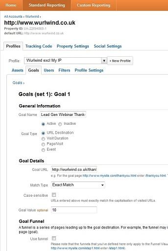 Set-up Screen for Goals in Google Analytics